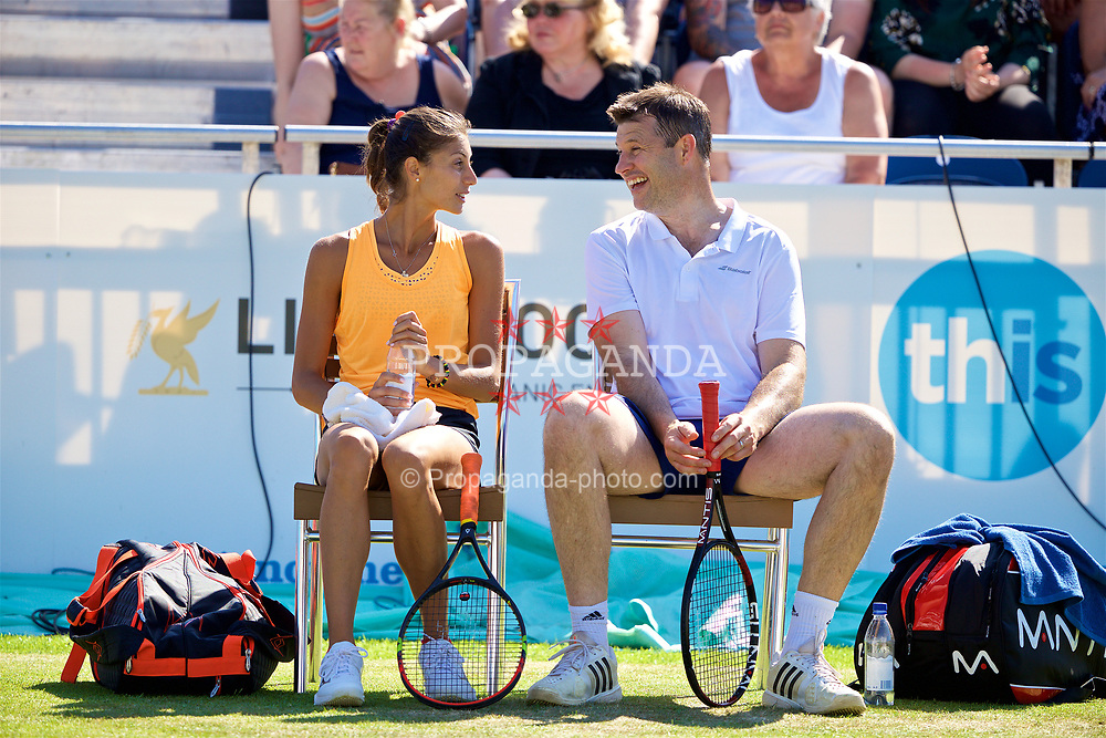 LIVERPOOL, ENGLAND - Saturday, June 17, 2017: Corinna Dentoni (ITA) and Barry Cowan (GBR) during Day Three of the Liverpool Hope University International Tennis Tournament 2017 at the Liverpool Cricket Club. (Pic by David Rawcliffe/Propaganda)