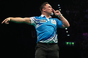 Gerwyn Price wins leg and celebrates and silence the crowd during the PDC Premier League Darts at Arena Birmingham, Birmingham, United Kingdom on 25 April 2019.