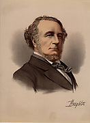 Richard Monckton Milnes, first Baron Houghton  (1809-1885), English poet and Conservative politician. Friend of Tennyson, Arthur Hallam and Thackeray, and early champion of Swinburne. One of Florence Nightingale's suitors and, although she declined to marry him, he was one of her constant supporters in her work.  From 'The Modern Portrait Gallery' (London, c1880). Tinted lithograph.