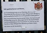 Bad Berleburg , 20-03-2017 <br /> <br /> <br /> Flag half mast at Bad Berleburg Castle where Prince Richard zu Sayn-Wittgenstein-Berleburg passed away.<br /> <br /> <br /> COPYRIGHT: ROYALPORTRAITS EUROPE/ BERNARD RUEBSAMEN