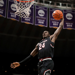 Jan 19, 2019; Baton Rouge, LA, USA; South Carolina Gamecocks forward Keyshawn Bryant (24) dunks against the LSU Tigers during the second half at the Maravich Assembly Center. Mandatory Credit: Derick E. Hingle-USA TODAY Sports