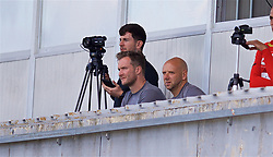 NAPLES, ITALY - Wednesday, October 3, 2018: Liverpool's Academy Director Alex Inglethorpe (R) and former player Rob Jones watch from the stands during the UEFA Youth League Group C match between S.S.C. Napoli and Liverpool FC at Stadio Comunale di Frattamaggiore. (Pic by David Rawcliffe/Propaganda)