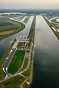Nederland, Zuid-Holland, Midden-Delfland, 28-09-2014; <br /> Rottemeren met Willem-Alexander roeibaan in de Eendragstpolder. Eendragtspolder wordt heringericht ten behoeve van waterberging en recreatie.<br /> Polder is being redesigned for water storage and recreation. Construction international rowing course Willem-Alexander.<br /> luchtfoto (toeslag op standard tarieven);<br /> aerial photo (additional fee required);<br /> copyright foto/photo Siebe Swart