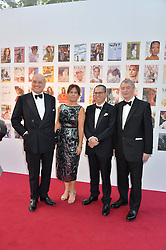 Left to right, NICHOLAS COLERIDGE, ALEXANDRA SHULMAN,  JONATHAN NEWHOUSE and STEPHEN QUINN at British Vogue's Centenary Gala Dinner in Kensington Gardens, London on 23rd May 2016.