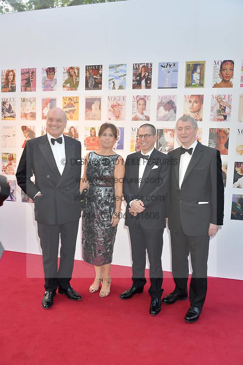 Left to right, NICHOLAS COLERIDGE, ALEXANDRA SHULMAN,  JONATHAN NEWHOUSE and STEPHEN QUINN at British Vogue's Centenary Gala Dinner in Kensington Gardens, London on 23rd May 2016.