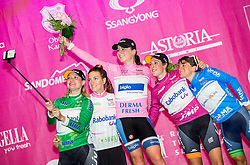 Roxane Knetemann (Ned) Rabo-Liv Woman Cycling, Pauline Ferrand-Prévot (Fra) Rabo-Liv Woman Cycling, Annemiek Van Vleuten (Ned) Bigla Pro Cycling, Lucinda Brand (Ned) Rabo-Liv Woman Cycling and Valentina Scandolara (Ita) Orica - Ais Team posing for selfie during flower ceremony after the Prologue - Time Trial (2km) at 26th Giro Rosa 2015 Women cycling race, on July 3, 2015 in Centre, Ljubljana,  Slovenia. Photo by Vid Ponikvar / Sportida