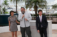 Director Michel Franco, (taking photograph), Actress Tessa la Gonzales, Actor Hernán Mendoza at the Despuée De Lucia film photocall at the 65th Cannes Film Festival France. Monday 21st May 2012 in Cannes Film Festival, France.
