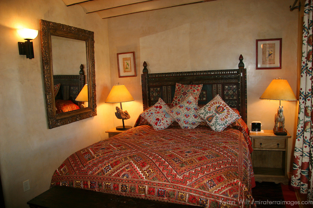 North America, USA, New Mexico, Santa Fe. Room in suite at Inn of Five Graces