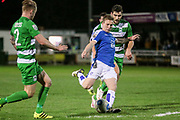 Jay Harris (Tranmere Rovers) shoots and scores Tranmere Rovers' equalising goal. 1-1 during the Vanarama National League match between North Ferriby United and Tranmere Rovers at Eon Visual Media Stadium, North Ferriby, United Kingdom on 21 March 2017. Photo by Mark P Doherty.