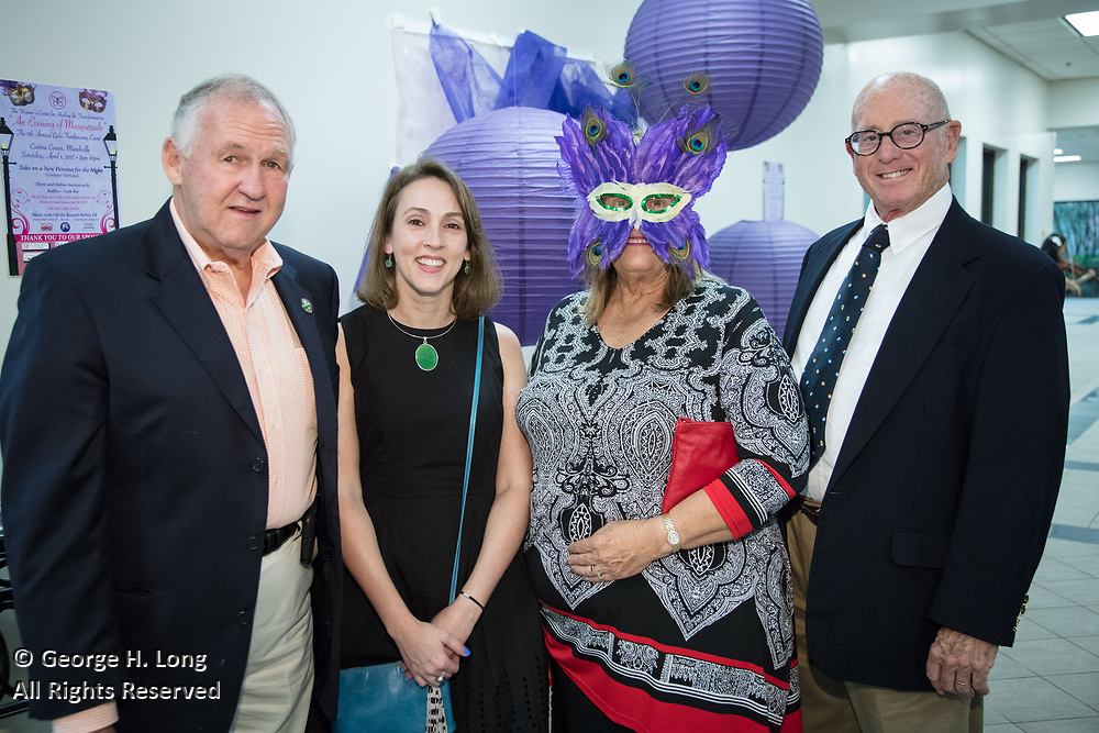 """Greg Lemons, Laurie Lemons, Nancy and Peter Colket; The Women's Center for Healing and Transformation """"An Evening of Masquerade"""" fifth annual fundraising gala at the Castine Center in Mandeville, Louisiana on March 31, 2017"""