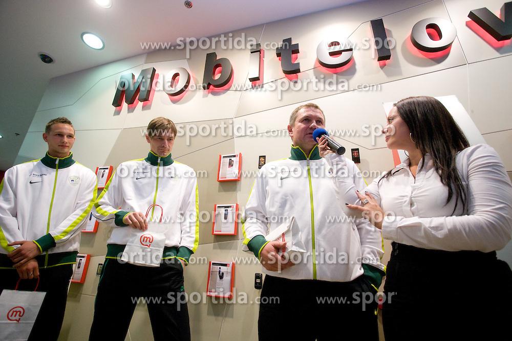 Tim Matavz, Milivoje Novakovic and Matjaz Kek at visit  of Slovenian National Football team in Mobitel center, on May 19, 2010 in Ciytpark, BTC, Ljubljana, Slovenia. (Photo by Vid Ponikvar / Sportida)