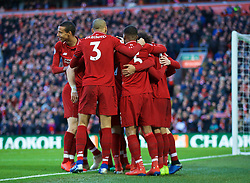LIVERPOOL, ENGLAND - Saturday, February 9, 2019: Liverpool's Mohamed Salah celebrates scoring the third goal with team-mates during the FA Premier League match between Liverpool FC and AFC Bournemouth at Anfield. (Pic by David Rawcliffe/Propaganda)