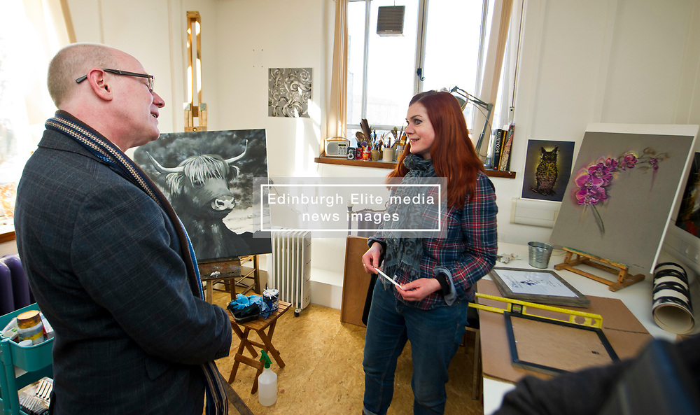 Pictured: Artist Rona Innes met Kevin Stewart during his tour.<br /> The latest recipients of the Regeneration Capital Grant Fund were announced today during a visit to Out of the Blue in Edinburgh by Local Government Minister Kevin Stewart. Out of the Blue, on Leith Walk, is an arts and education trust that provides affordable spaces and resources to the local community.  The Minister was accompanied by COSLA President David O'Neill and Gavin Barrie, City of Edinburgh Council Education Convener, as he toured the premises that are set to be refurbished, helping Out of the Blue meet growing local demand.  The Regeneration Capital Grant Fund supports projects in disadvantaged areas that engage and involve local communities and is jointly funded by the Scottish Government and COSLA. <br /> <br /> <br /> Ger Harley | EEm 9 March 2017