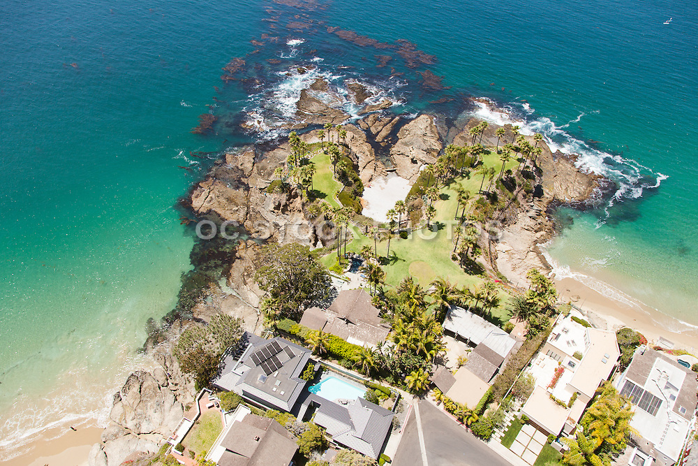 Aerial of Crescent Bay and Shaws Cove in Laguna Beach California
