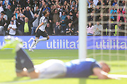 Derby County forward Chris Martin (19) scores a goal and celebrates 1-0 during the EFL Sky Bet Championship match between Derby County and Birmingham City at the Pride Park, Derby, England on 28 September 2019.