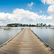 Panoramic shot of a wooden pier on St. George Islands near Piney Point, Virginia