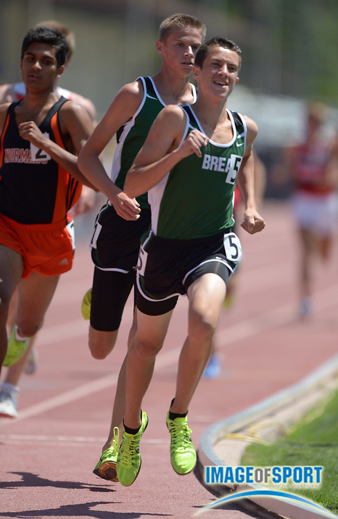 May 18, 2013; Walnut, CA, USA; Austin Tamagno of Brea-Olinda places second in the Division III 1,600m in 4:13.05 in the 2013 CIF Southern Section finals at Hilmer Lodge Stadium.