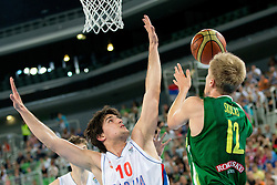 Zygimantas Skucas of Lithuania vs Marko Gujanici of Serbia during basketball match between National teams of Serbia and Lithuania in semifinal of U20 Men European Championship Slovenia 2012, on July 21, 2012 in SRC Stozice, Ljubljana, Slovenia. Lithuania defeated Serbia 73-68. (Photo by Matic Klansek Velej / Sportida.com)