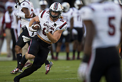South Carolina tight end Hayden Hurst (81) runs practice drills before the start of an NCAA college football game against Texas A&M Saturday, Sept. 30, 2017, in College Station, Texas. (AP Photo/Sam Craft)