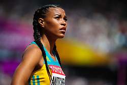 London, 2017 August 06. Morgan Mitchell awaits the start of heat five of the Women's 400m on day three of the IAAF London 2017 world Championships at the London Stadium. © Paul Davey.