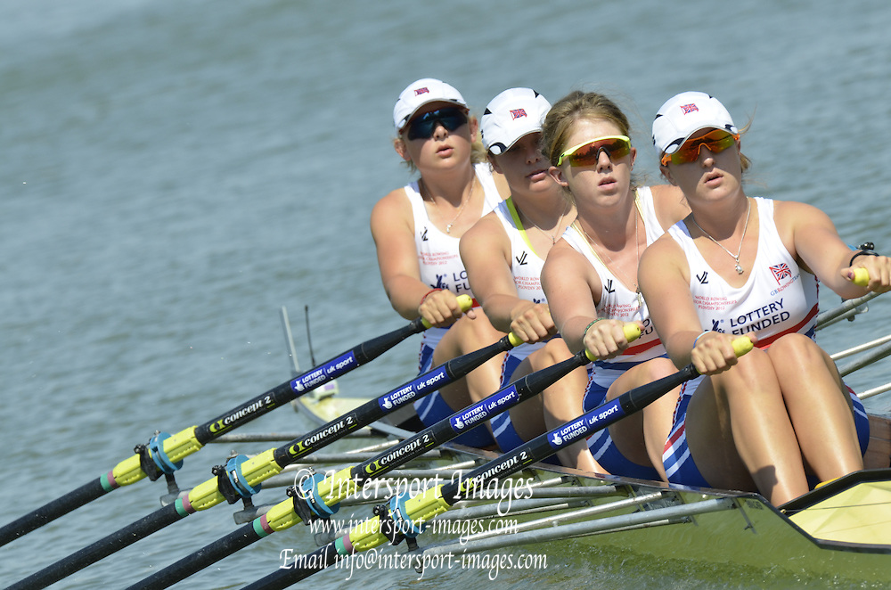 Plovdiv BULGARIA.  GBR JW4X. Bow,Jessica LEYDEN (b) , Katie BARTLETT (2) , Joanna UNSWORTH (3) , Lucy BURGESS (s) Heats.  2012 FISA Junior and Non Olympic Rowing Championships, Plovdiv Rowing Centre  15:25:54  Wednesday  15/08/2012  [Mandatory Credit; Peter Spurrier: Intersport Images]