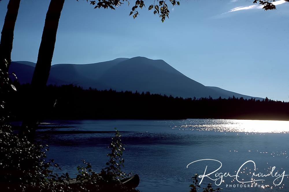 Roger Crowley / CrowleyPhotos.com..A canoe is docked overlooking Kidney Pond in Baxter State Park in Maine..
