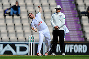 Hampshire's Liam Dawson bowling the last over before lunch during the Specsavers County Champ Div 1 match between Hampshire County Cricket Club and Warwickshire County Cricket Club at the Ageas Bowl, Southampton, United Kingdom on 12 April 2016. Photo by Graham Hunt.