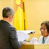 033114  Adron Gardner<br /> <br /> Attorney Sara Berger questions Alvera Mitchell about a petition signature in district court at the McKinley County Courthouse in Gallup Monday.