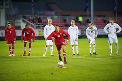 LLANELLI, WALES - Friday, October 22, 2010: Wales' Billy Bodin steps up to score the equalising goal from the penalty spot against Iceland during the UEFA Under-19 Championship Qualifying Group 1 match at Stebonheath Park. (Photo by Gareth Davies/Propaganda)