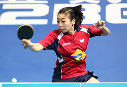 February 23, 2018 - London, England, United Kingdom - Yue WU of USA .during 2018 International Table Tennis Federation World Cup match between Yue WU of USA  against Shiwen LIU of China  at Copper Box Arena, London  England on 23 Feb 2018. (Credit Image: © Kieran Galvin/NurPhoto via ZUMA Press)