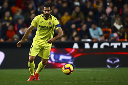 January 26, 2019 - Valencia, Spain - Mario Gaspar of Villarreal CF during  spanish La Liga match between Valencia CF vs Villarreal CF at Mestalla Stadium on Jaunary  26, 2019. (Credit Image: © Jose Miguel Fernandez/NurPhoto via ZUMA Press)