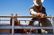 11 MAY 2002 - BUCKEYE, ARIZONA, USA: Paul Brashears, prpeares to ride in the bareback competition at the Arizona West PRCA Rodeo in Buckeye, AZ, May 11, 2002. It was the first year for the Arizona West PRCA Rodeo..PHOTO BY JACK KURTZ