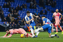 December 8, 2018 - Barcelona, Catalonia, Spain - FC Barcelona forward Lionel Messi (10) and RCD Espanyol midfielder Marc Roca (21) during the match RCD Espanyol against FC Barcelona, for the round 15 of the Liga Santander, played at RCD Espanyol Stadium  on 8th December 2018 in Barcelona, Spain. (Credit Image: © Mikel Trigueros/NurPhoto via ZUMA Press)