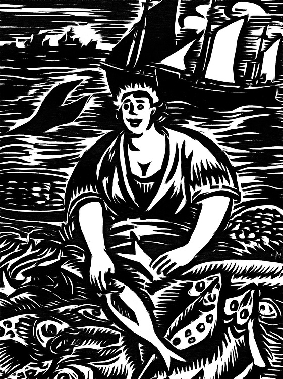 A black / white drawing of a woman who is selling fish