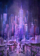 Painterly rendition of a purple cityscape with a Manhattan street scene in the foreground against a background of soaring skyscrapers