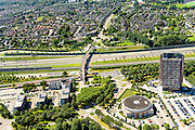 Nederland, Noord-Brabant, Breda, 23-08-2016; Prinsenbeek, omgeving station Breda-Prinsenbeek, A16 en tunnelbak voor HSL.<br /> Prinsenbeek, environment station Breda-Prinsenbeek, A16 and tunnel for HST.<br /> luchtfoto (toeslag op standard tarieven);<br /> aerial photo (additional fee required);<br /> copyright foto/photo Siebe Swart