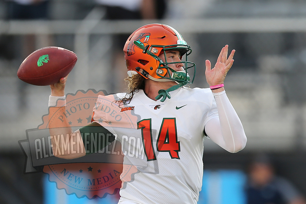 ORLANDO, FL - AUGUST 29: Ryan Stanley #14 of the Florida A&M Rattlers warms up during a NCAA football game between the Florida A&M Rattlers and the UCF Knights on August 29 2019 in Orlando, Florida. (Photo by Alex Menendez/Getty Images) *** Local Caption *** Ryan Stanley