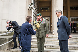 © Licensed to London News Pictures. 02/11/2017. London, UK. New Defence Secretary Gavin Williamson (L) shakes hands with Vice Chief of Defence Staff General Sir Gordon Messenger (centre) outside the Ministry of Defence. Photo credit: Rob Pinney/LNP