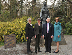 Meeting up with the O'Malley's. US Ambassador to Ireland Kevin O'Malley and his wife Deena pictured with Karen and Sheelyn Browne in front of the Bronze statue of Grace O'Malley at Westport House where he launched the exhibition Westport House and and the Famine Lady Sligo's letters.<br /> Pic Conor McKeown