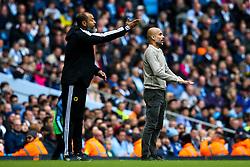 Manchester City manager Pep Guardiola and Wolverhampton Wanderers manager Nuno cut animated figures - Mandatory by-line: Robbie Stephenson/JMP - 06/10/2019 - FOOTBALL - Etihad Stadium - Manchester, England - Manchester City v Wolverhampton Wanderers - Premier League