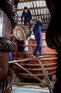 unloading salted anchovies into wooden vats to make fish sauce at the Red Boat fish sauce factory