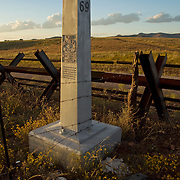 "Looking North into the ""Boot Heal"" of New Mexico,United States. Border marker #69 and  Normandy barrier style border fence, Animas Valley, Sonora Mexico"