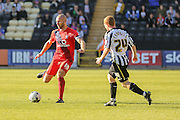 York City midfielder Russell Penn and Notts County forward Adan Campbell during the Sky Bet League 2 match between Notts County and York City at Meadow Lane, Nottingham, England on 26 September 2015. Photo by Simon Davies.