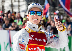 Johann Andre Forfang (NOR) celebrates at trophy ceremony during Ski Flying Hill Team Competition at Day 3 of FIS Ski Jumping World Cup Final 2016, on March 19, 2016 in Planica, Slovenia. Photo by Vid Ponikvar / Sportida