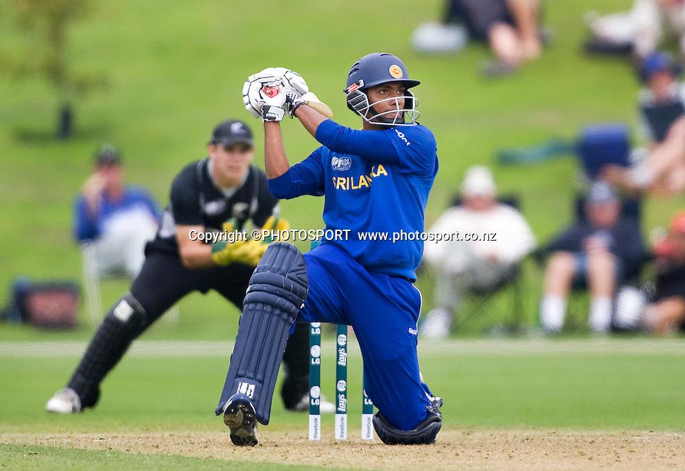 Sri Lankan batsman Danishka Gunathilleke during his innings of 69. New Zealand v Sri Lanka, U19 Cricket World Cup group stage match, Village Green, QEII, Christchurch, Wednesday 20 January 2010. Photo : Joseph Johnson/PHOTOSPORT