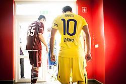 Petar Stojnic of NK Triglav and Agim Ibraimi of NK Maribor during football match between NK Triglav Kranj and NK Maribor, 7th Round of Prva Liga, on 24 August, 2013, in Sportni center Kranj, Slovenia. (Photo by Grega Valancic / Sportida)