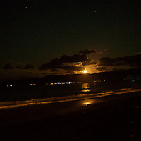 Moonrise over Okuma's north beach.