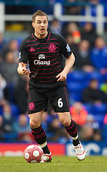 BIRMINGHAM, ENGLAND - Saturday, March 13, 2010: Everton's Phil Jagielka back in action following a long lay-off with injury during the Premiership match against Birmingham City at St Andrews. (Photo by David Rawcliffe/Propaganda)