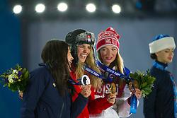 19.02.2014, Olympic Park, Adler, RUS, Sochi, 2014, Medaillenfeier, im Bild Tomoka Takeuchi (JAP), Patrizia Kummer (SUI), Alena Zavarzina (RUS) waehrend der Medaillenfeier // during Medal Ceremony of the Olympic Winter Games Sochi 2014 at the Olympic Park in Adler, Russia on 2014/02/19. EXPA Pictures © 2014, PhotoCredit: EXPA/ Freshfocus/ Urs Lindt<br /> <br /> *****ATTENTION - for AUT, SLO, CRO, SRB, BIH, MAZ only*****