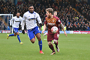 Bradford City Forward, Billy Clarke checks over his shoulder as he breaks during the The FA Cup third round match between Bury and Bradford City at Gigg Lane, Bury, England on 9 January 2016. Photo by Mark Pollitt.